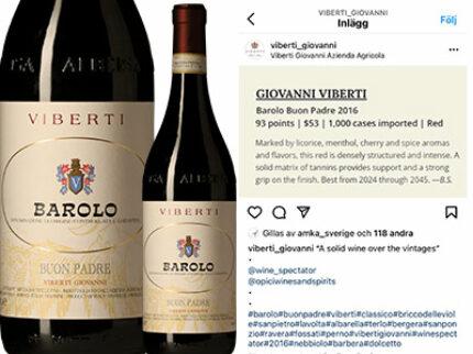 Viberti Barolo Buon Padre 2016 – 93 poäng i Wine Spectator.